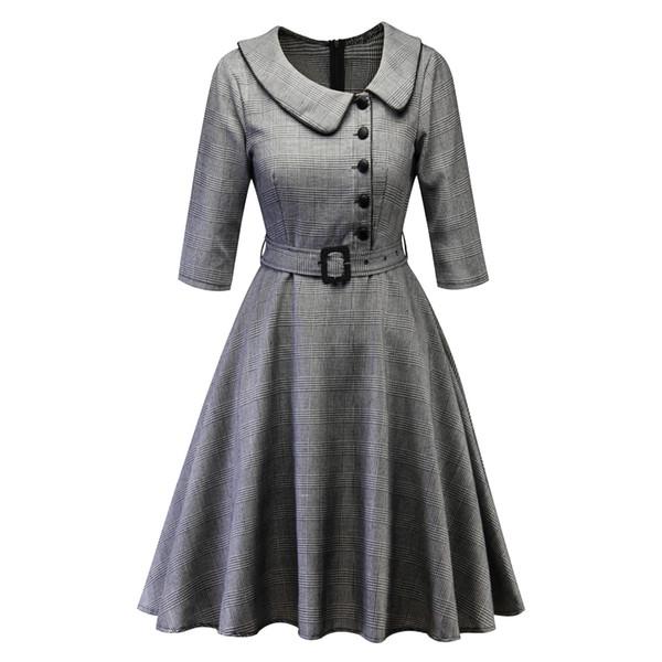 Women Plaid Elegant Dresses Hot Sale Half Sleeve Buttons Cotton Fabric Knee Length Ladies Swing Dresses With Belts
