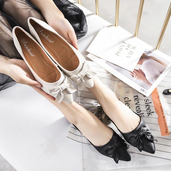 Boca baja solo zapatos femeninos 2019 nueva versión coreana del arco zapatos perezosos fondo suave moda plana gran tamaño zapato de mujer