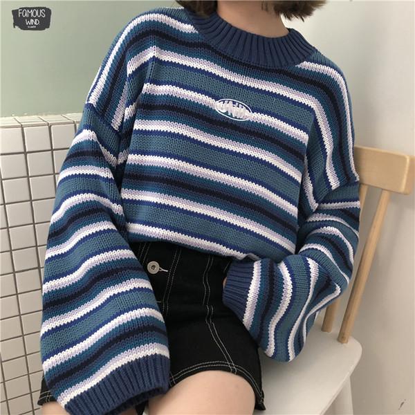 Suéter femenino coreano Harajuku para mujer Suéter de estudiante de rayas sueltas salvajes Suéteres para mujer Kawaii Ulzzang Pullover