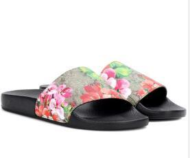 Designer Sandal Rubber Slides Blooms Green Red White Web Fashion Mens Womens casual Shoes Beach Flip Flops with dust Bag