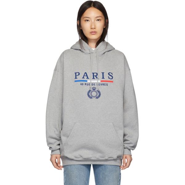 TOP 19FW BLCG Paris Letter Taç Buğday Kapşonlu Sweatshirt Çift Casual High Street Erkekler Kadınlar Çift Kapüşonlular Casual Üç Renk HFHLWY071