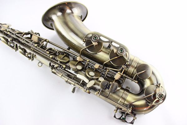 Professional Unbranded Bb Tenor Saxophone High Quality Brass Body Antique Copper B-flat Instrument With Case Mouthpiece Free Shipping