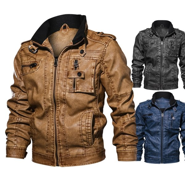 Leather Jacket Denim Color New Winter Leather Jacket Mens Coats Fur inside Men Motorcycle Jacket High Quality Thick Warm PU Leather Outwear
