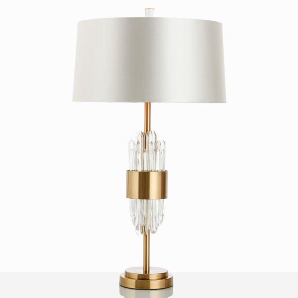 Modern Tasarımcı Masa Lambası Cam Işıkları Oturma Odası Yatak Odası Başucu Kumaş Abajur Dekor Ev Aydınlatma Fixtrues E27 110-220 V