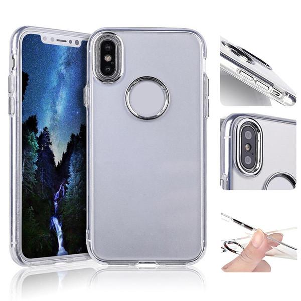 Para iphone xs max transparente metal chave híbrido armadura case para iphone 8 7 plus samsung note9 j3 j7 2018 tpu macio tampa clara oppo aicoo