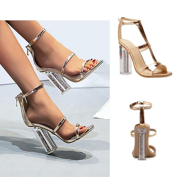 Cristal de ouro chunky calcanhar verão sapatos de casamento moda peep toe T-cinta designer de salto alto mulheres banquete vestido de sapatos