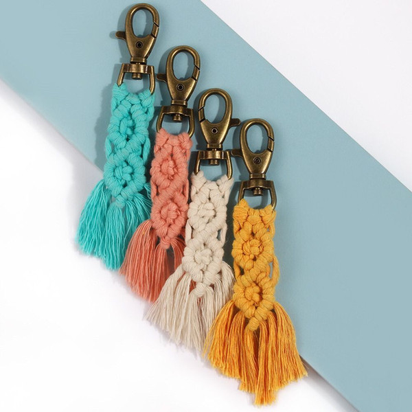 best selling Boho Fringe Weave Cotton Macrame Keychain tassel weave 4 colors keychain keyring for bags purses clutches