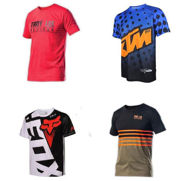 Hombres camisetas de ciclismo 25 colores de motocicleta a campo traviesa camisa de manga corta de secado rápido Nuevo cuello redondo impreso bicicleta de montaña desgaste de la bicicleta