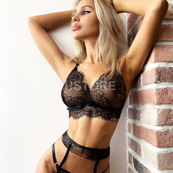 top popular Hot Sale 3pcs set Ladies Sexy Perspective Lingerie Lace Eyelashes Three-point Sexy Suit Celebrity Bra Free Shipping 2019