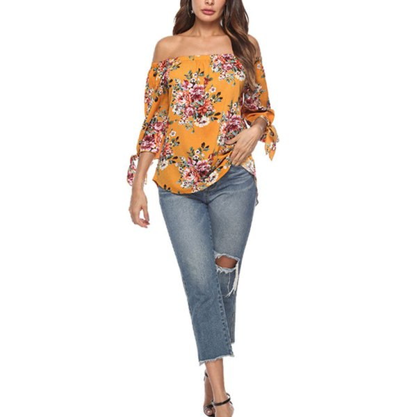 Chiffon Blouse Shirts Boho Summer Top Off Shoulder Sexy Print Irregular Womens Tops And Blouses Lantern Sleeve Fashion Casual