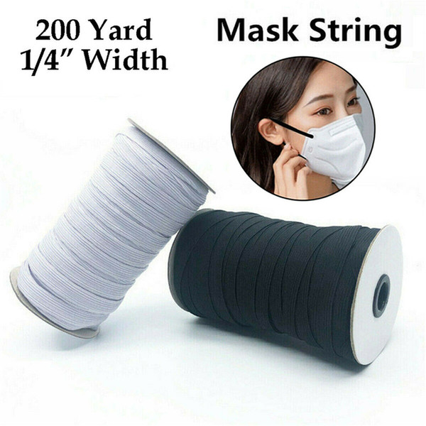 top popular 1 4 Inch KNITTED ELASTIC Band for Face Cover 200 Yards Sewing Cord String 6mm 2021
