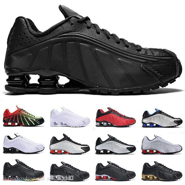 2019 Nouveau Shox R4 Hommes Designer Chaussures De Course Noir Or Argent Challenge Rouge Hommes Coussin Trainers Randonnée En Plein Air Sport Baskets 40-46