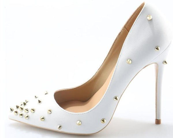 New Genuine Leather heels Shoes Pointed Toe Women Pumps Rivet Studded For Wedding Party Dress Stiletto Woman Size 35-44 high 8 10 12 cm