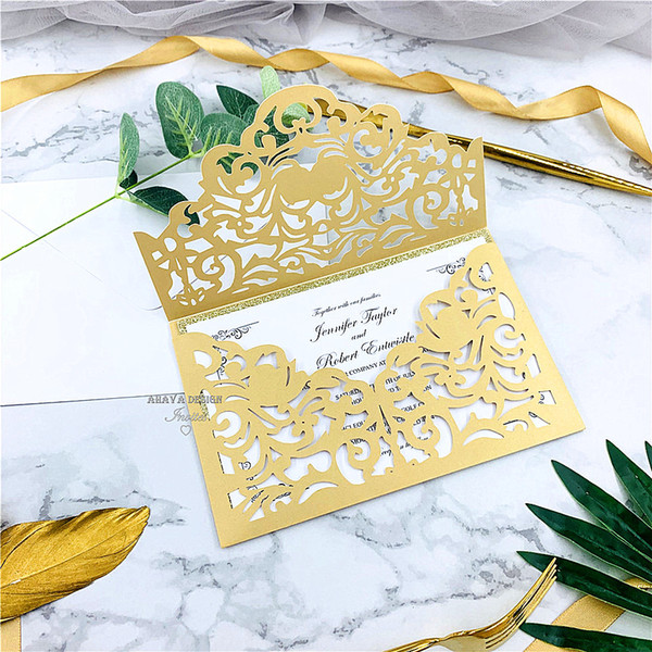 best selling Classic Gold Laser Cut Wedding Invitations With Envelope Style, Personal Wedding Business Party Birthday Invitations, Free Shipping