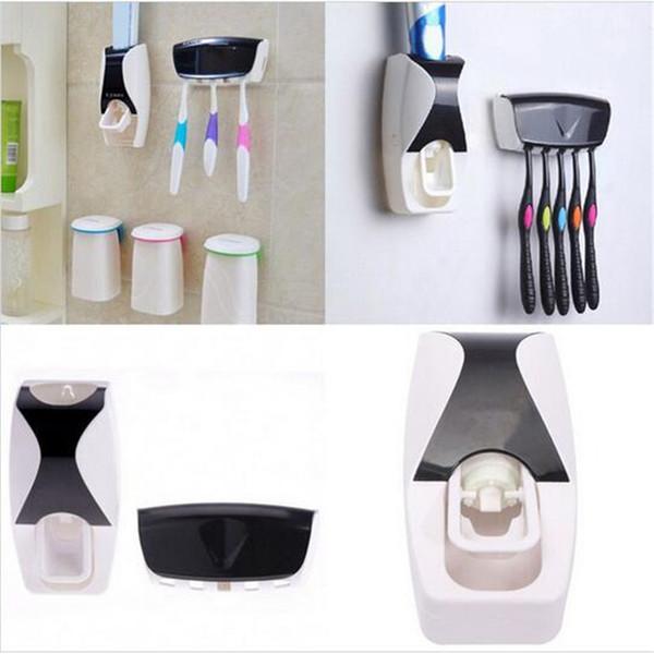 Kullanışlı Moda Otomatik Diş Macunu Dispenser + Diş Fırçası Tutucu Set Aile Seti Duvara Monte Raf Banyo Ağız Toptan