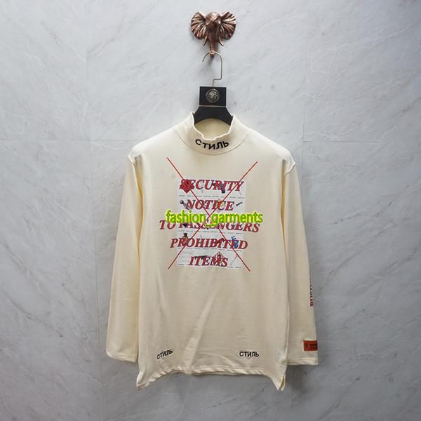 Heron Preston Crane Dolcevita ricamata a maniche lunghe Uomo Donna Camicie di lusso di moda Designer Camicie a maniche lunghe di alta qualità