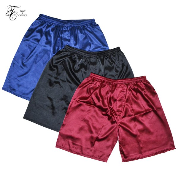 Tony&candice 3pcs/lot Men's Satin Silk Boxers Pajama Short Trousers Shorts Combo Pack Underwear Pajamas For Men Sleep Bottoms Q190417