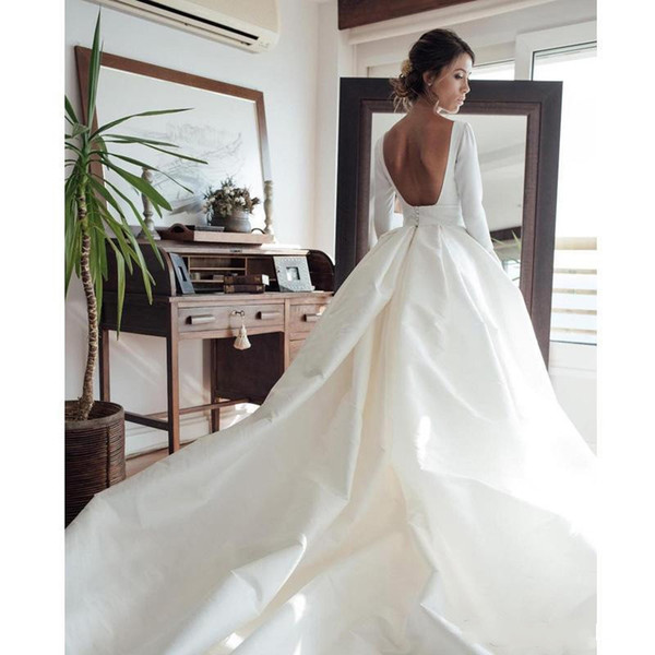 Elegant Satin Long Sleeves Country Style Wedding Dresses Sexy Court Train Draped Backless A Line Beach Bridal Gowns Custom Made