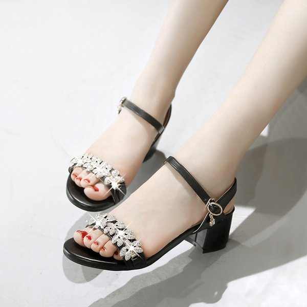 Sexy2019 Rhinestone Metal Open Toe Coarse With Occupation Sandals Shoe G10