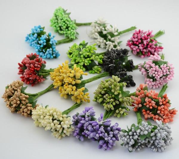 Al por mayor- 12pcs / lot Mulberry party Material de guirnalda de flores artificiales Estambre vástago de alambre / matrimonio hojas estambre decoración de la caja de la boda