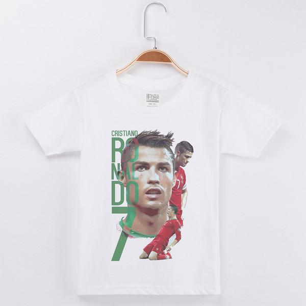 New Arrival Kids Shirt For Boys Football Star Ronaldo T Shirts White Cotton Short Children Clothes Child Tees Free Shipping Q190523