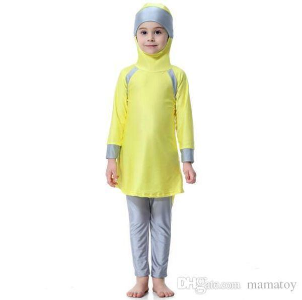 Muslim Arab Girls Modest Swimwear Kids Swimsuit Islamic Swimming Costume