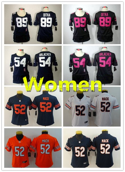 quality design a7c3d cf37c Women 52 Khalil Mack Chicago Jersey Bears Football Jersey 100% Stitched  Embroidery 89 Mike Ditka 54 Brian Urlacher Football Women Jersey Customize  ...