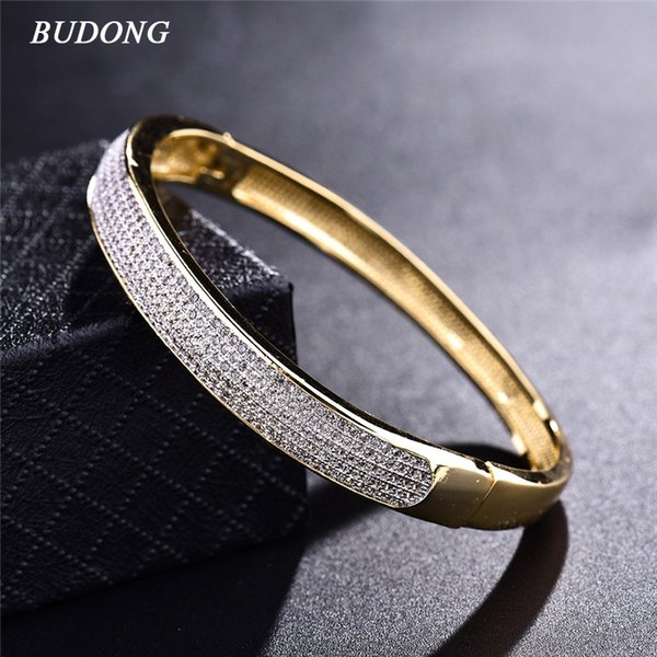 BUDONG 2017 Famous Brand Luxury Love Bangle for Women Silver/Gold-Color Bracelet White CZ Zirconia Wedding Jewelry XUZ033 C19010401