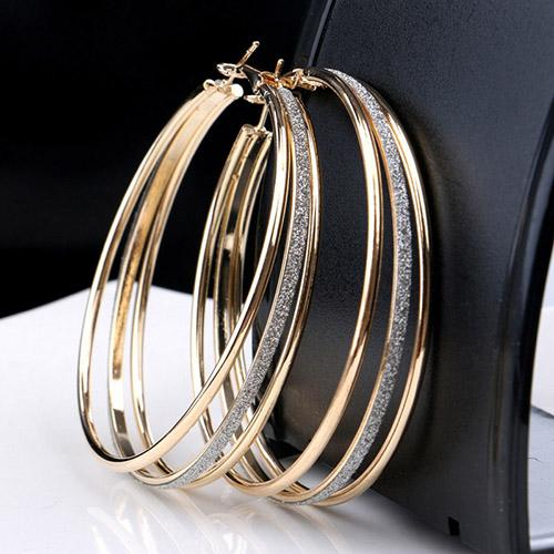 top popular Hotsale 2019 new multi layer Frosted Crystal Hoop Round Earrings Sequins Big Circle Punk Huggie Earring For Women Girl Jewelry Gifts 2021