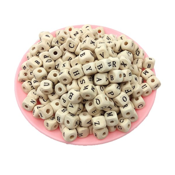 100Pcs lot Mix Letter Wood Beads DIY Jewelry Making Natural Wooden Beads Alphabet Square Cube Letter Wood Beads For Bracelet Necklace