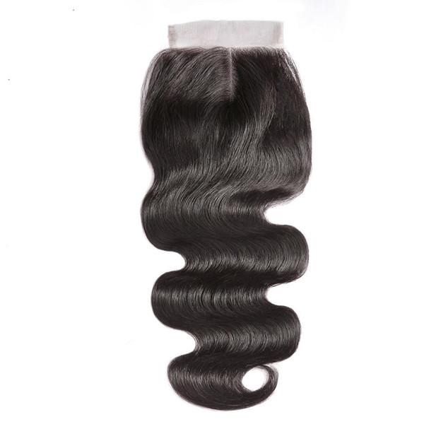 Fermeture de dentelle brésilienne de cheveux humains fermeture vague de corps couleur naturelle 6x6 fermeture de dentelle transparente
