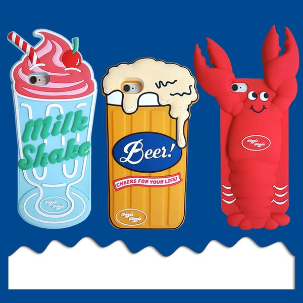 For Iphone Xr Xs Phone Case Crayfish Beer Ice Cream 6 7 8 X Plus Cartoon Creative Soft Silicone Cell Phone Cases