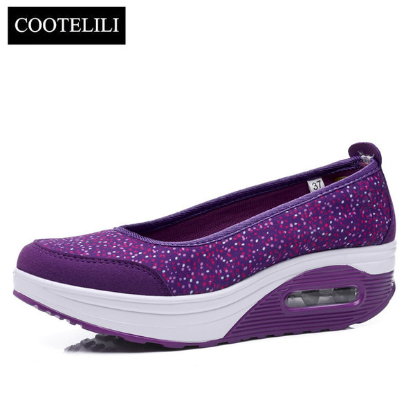 Designer Dress Shoes COOTELILI Spring Women Wedges Platforms Sneakers Dot Loafers Round Toe Air Cushion Heels Slip-On Pumps Casual Woman