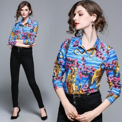 Moda tasarımcısı pist kadın bluzlar uzun kollu gömlek kaplan baskı kadın bluzlar artı boyutu kadın bluz