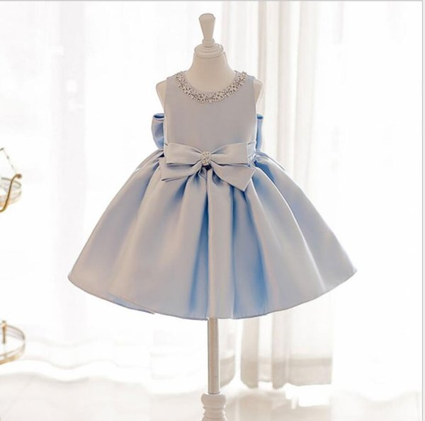 Baby Girl 1 Year Birthday Dress Bead Bow Newborn Clothing Princess Party Infant Dress for Girls Baptism Christening Gown