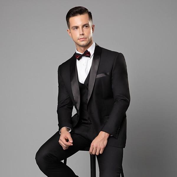 2019 Мужские свадебные смокинги на заказ Черный пиджак Однобортный платок с отворо