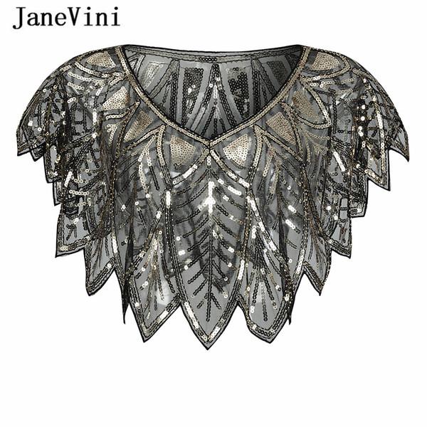 JaneVini 2019 New Fashion Black Gold Bolero Sparkle Sequined Bridal Wraps Beaded Wedding Cape Shawls Cloak for Evening Party Accessories