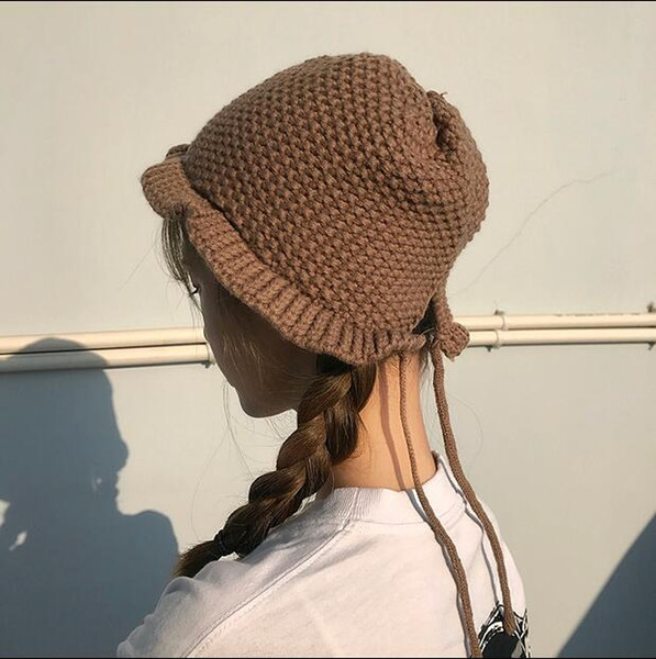 01Japanese soft sister autumn and winter cute bandage wool hat female casual Korean version of the knit hat student ear protection warm hat