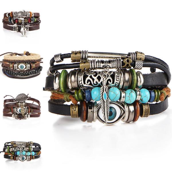 Antique Silver Horus Evil Eye Owl Bracelet Strands Multilayer Wrap Leather Bracelet Wristband Bangle Cuffs Jewelry for Women K3908