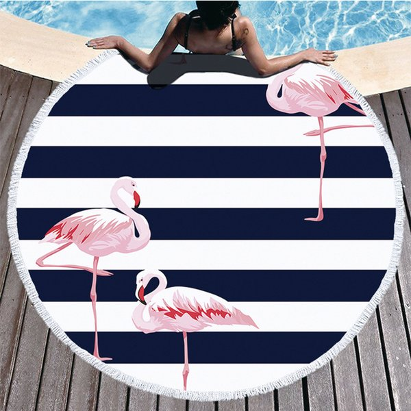 Bohemian Flamingos Round Beach Towel Round Towel Microfiber Beach Towels for Adult Home Yoga Mat Picnic Mat Playa