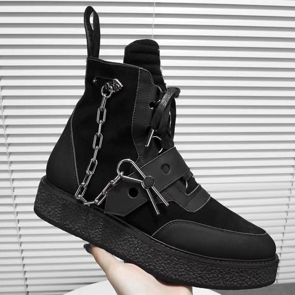 Luxe Nouvelle Arrivée Mens Creeper Ankle Boot avec Chaîne D'or Épingle Femmes En Cuir Martin Bottes Monogram Bottines Sneaker Botte Designer Chaussures