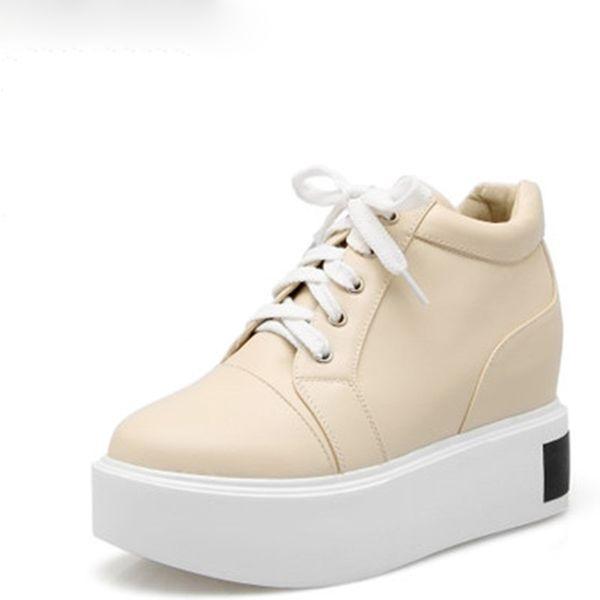 Sıcak Sale-sKorea Stil Kadın Platformları Ayakkabı Moda Dantel-up Yüksekliği Artan Takozlar Yüksek Topuklu Kadın Rahat Ayakkabılar Kadın Ayakkabı Boyutu 32-43