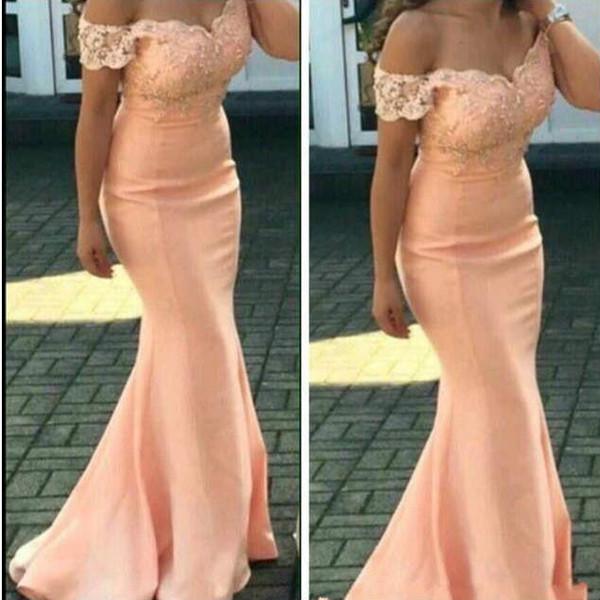 Onur Elbise Kapalı Omuz Custom Made Of 2020 Şeftali Denizkızı Gelinlik Modelleri İçin Düğünler Dantel Aplikler Wedding Guest Elbiseler Hizmetçi