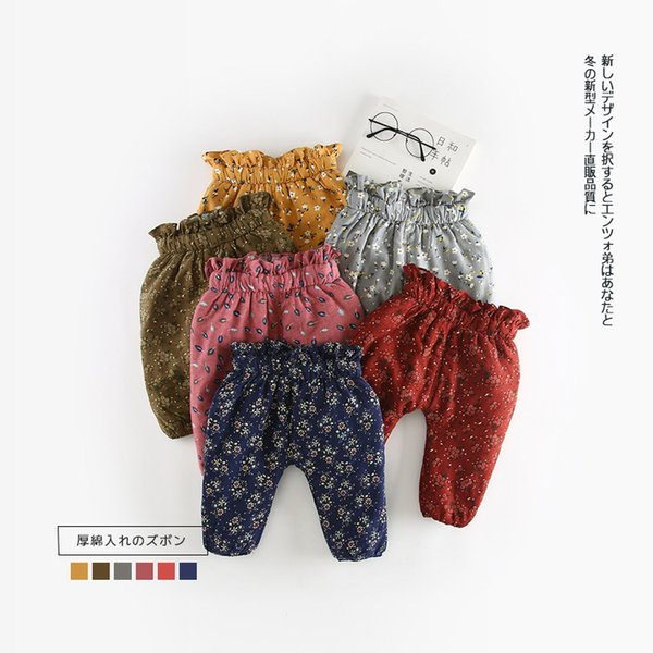 2019 Autumn Winter Baby Warm Pants Fleece Baby Girl Pants Causal Flower Pattern Infant High Waist Thickend Pant Trousers 0-24M