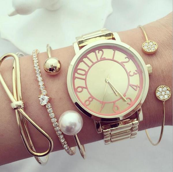 2019 европейские и американские новые продукты ретро мода лук в форме сердца алмаз жемчужный шар открытый браслет 4 шт.