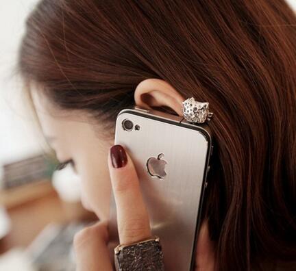 Pequenos acessórios pequenos e simples diamantes gato bonito pequeno coração do telefone móvel poeira plug plugue poeira
