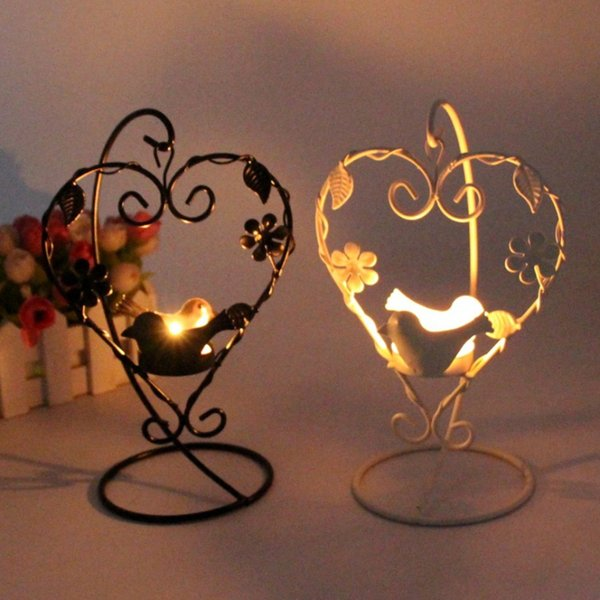 Heart Shape Bird Candle Holder Vintage Tealight Candlestick Love Hanging Iron Candle Holder Home Decoration Crafts Gift