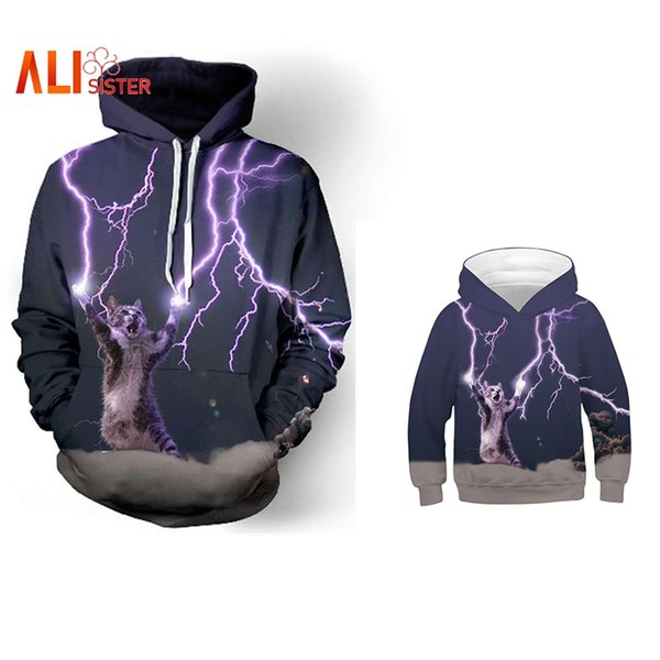 Cat Play Lightning Funny Print 3D Hoodies Family Clothes Sweatshirt Casual Pullover Family Matching Outfits Parent Child Hoodie