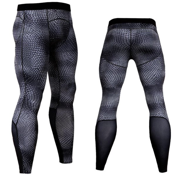 Wholesale Men's compression pants leggings snake skin print running sports gym fitness male crossfit Tight trousers capris Sweatpants pant