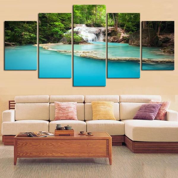 5 paneles de montaña y naturaleza de la cascada de la pared del paisaje pintura moderna Inicio decoración de la pared pintura al óleo lienzo de la lámina (No Frame)
